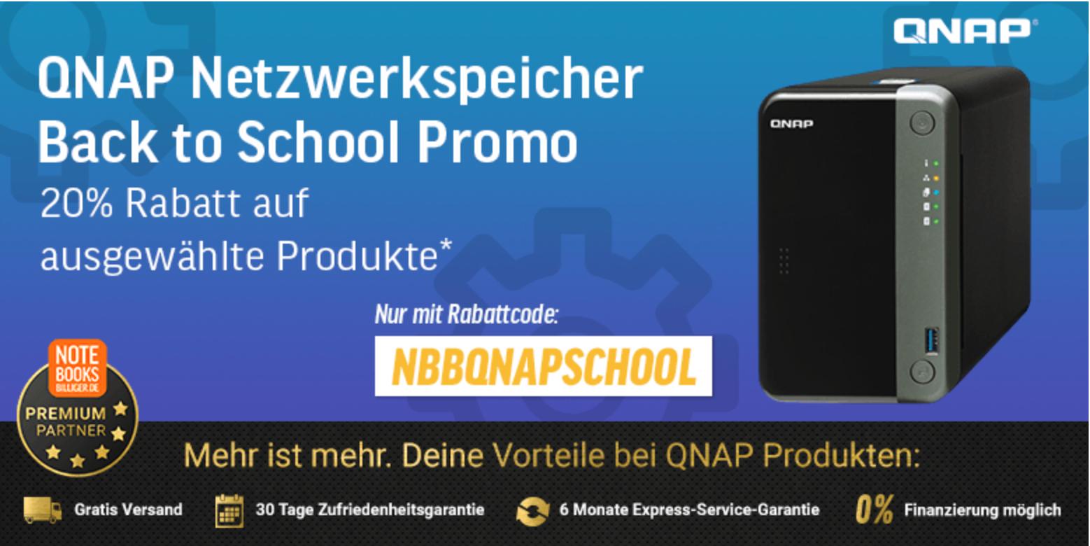 NBB - 20% auf ausgewählte QNAP Produkte z.B. QNAP Systems TS-231K NAS 2-Bay [0/2 HDD/SSD, 2x GbE, 3x USB, 1GB RAM]