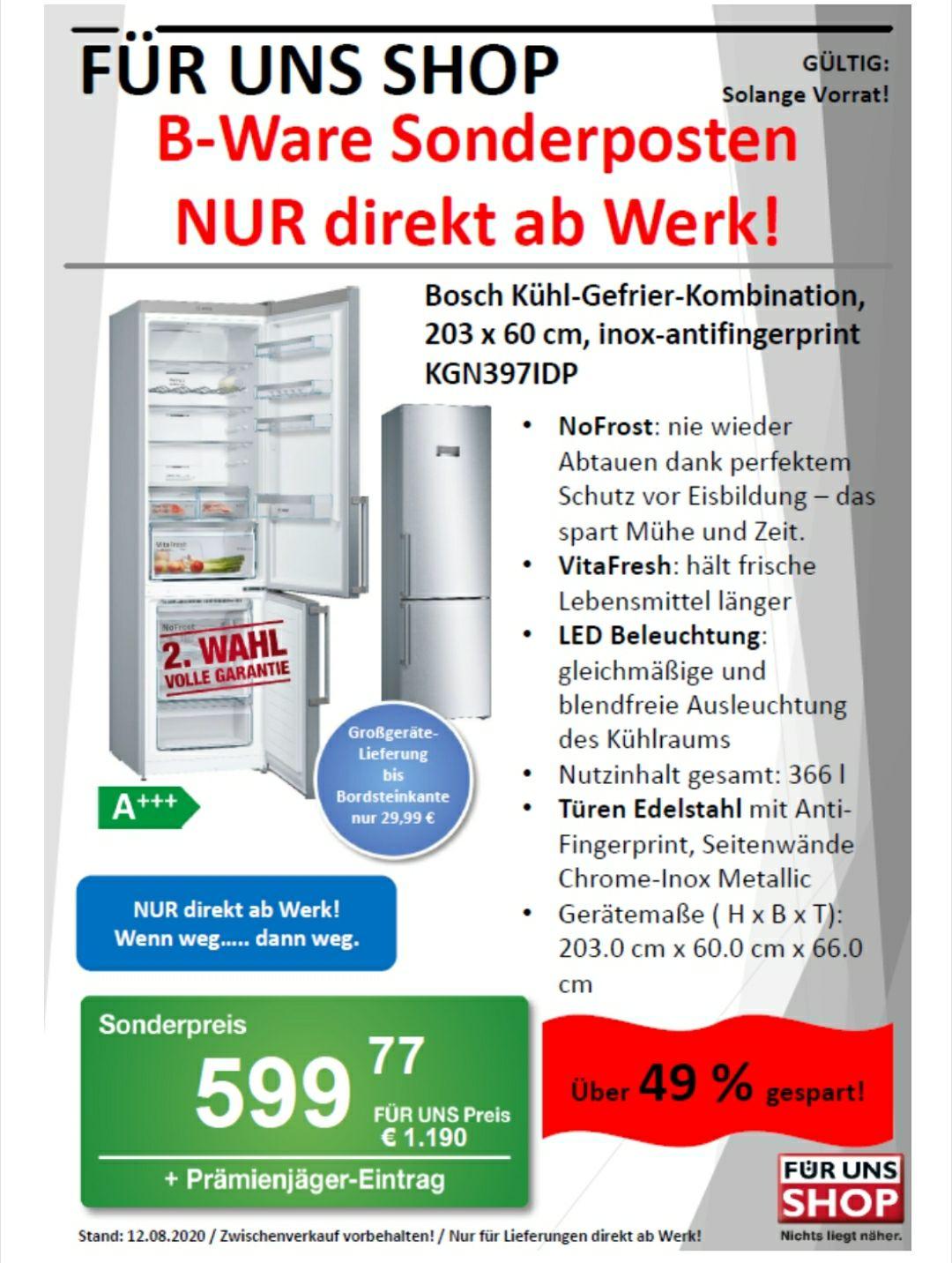 [Für Uns Shop DD] Bosch Serie 4 KGN397IDP Kühlschrank