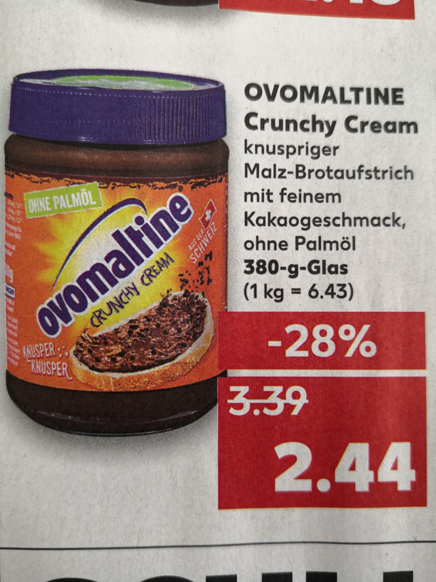 [Kaufland] Ovomaltine Crunchy Cream 380g Brotaufstrich ohne Palmöl 2,44€ (kein Coupon)