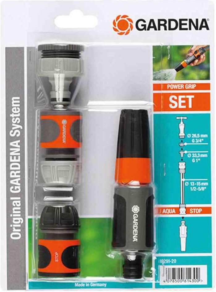 Gardena Grundausstattung Schlauchanschluss, Spritze Set für 13 mm & 15 mm (Schwarz/Orange) 5-teilig für 4,95€ (Real)