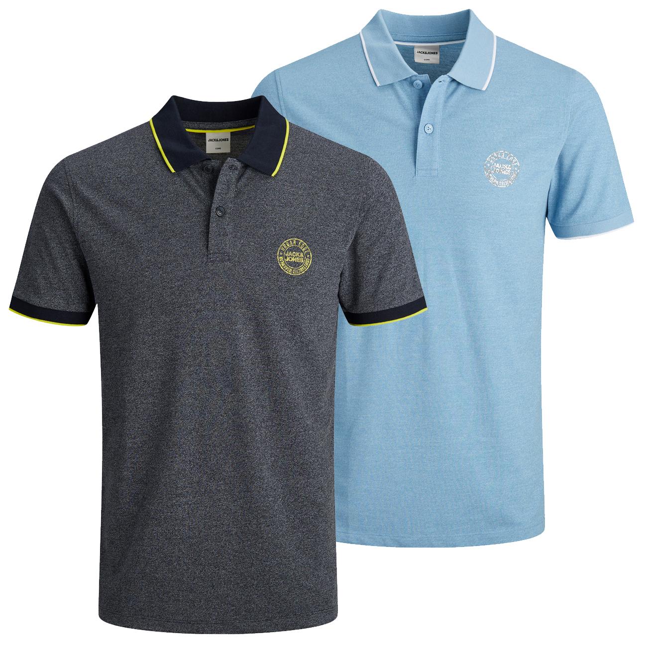 "Jack & Jones Shirts Deal: Doppelpack Polos ""JCOSIRIGU POLO"" oder 4er Pack Kurzarm Rundhals T-Shirts JCOSTRUCTURE TEE Slim Fit"