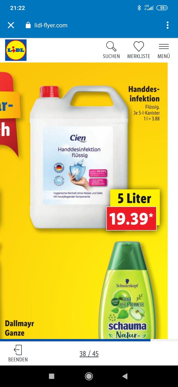Handdesinfektion 5 Liter Kanister für 19,39€ (3,88€ pro Liter) ab 14.08 bei Lidl