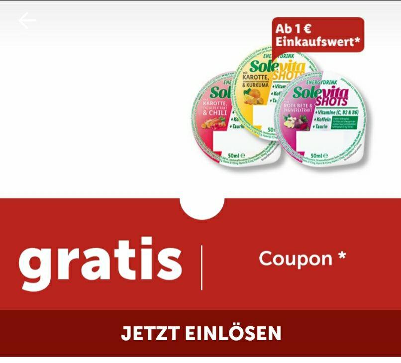 Lidl Plus App - 1 Becher Solevita frischer Vita Shot gratis ab 1 € Einkaufswert [lokal/ausgewählte Kunden]