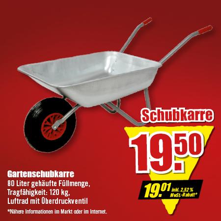 Garten-Schubkarre, 120kg Tragkraft für 19,01 Euro [B1 Discount] / 100 kg Tragkraft für 19,50 Euro [Thomas Philipps]