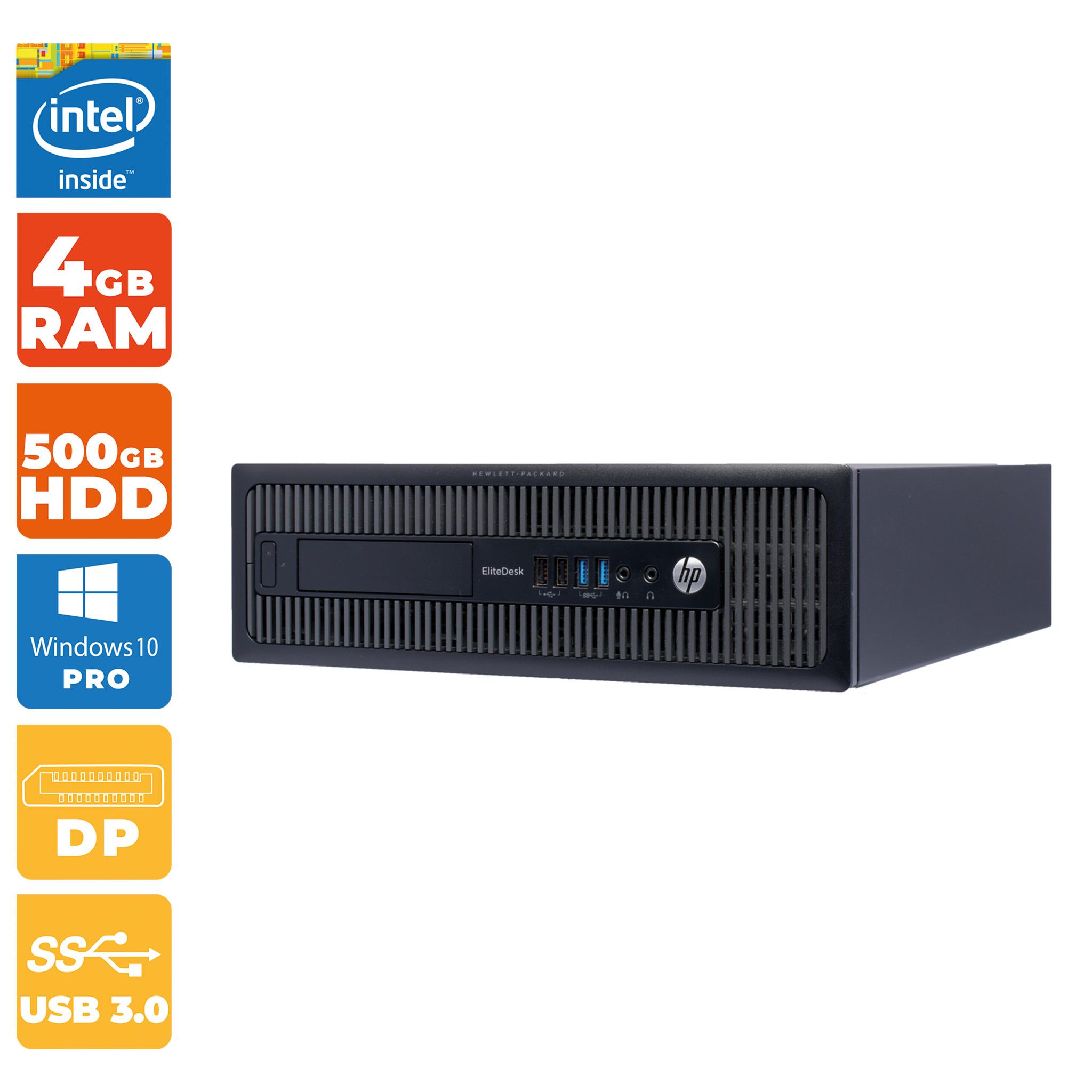 Office-Rechner HP EliteDesk 800 G1 SFF ( Intel i5- 4.Gen, 4GB DDR3-RAM, 500GB, 8x USB 3.0, 2x USB 3.0, 2x DisplayPort, Windows 10 Pro )