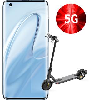 """Xiaomi Mi 10 5G Grau (6,67"""" FHD+ AMOLED, SD865, 208g, 8/128GB, NFC, 4780mAh, 30W, 579k AnTuTu) + Mi Scooter 1S"""
