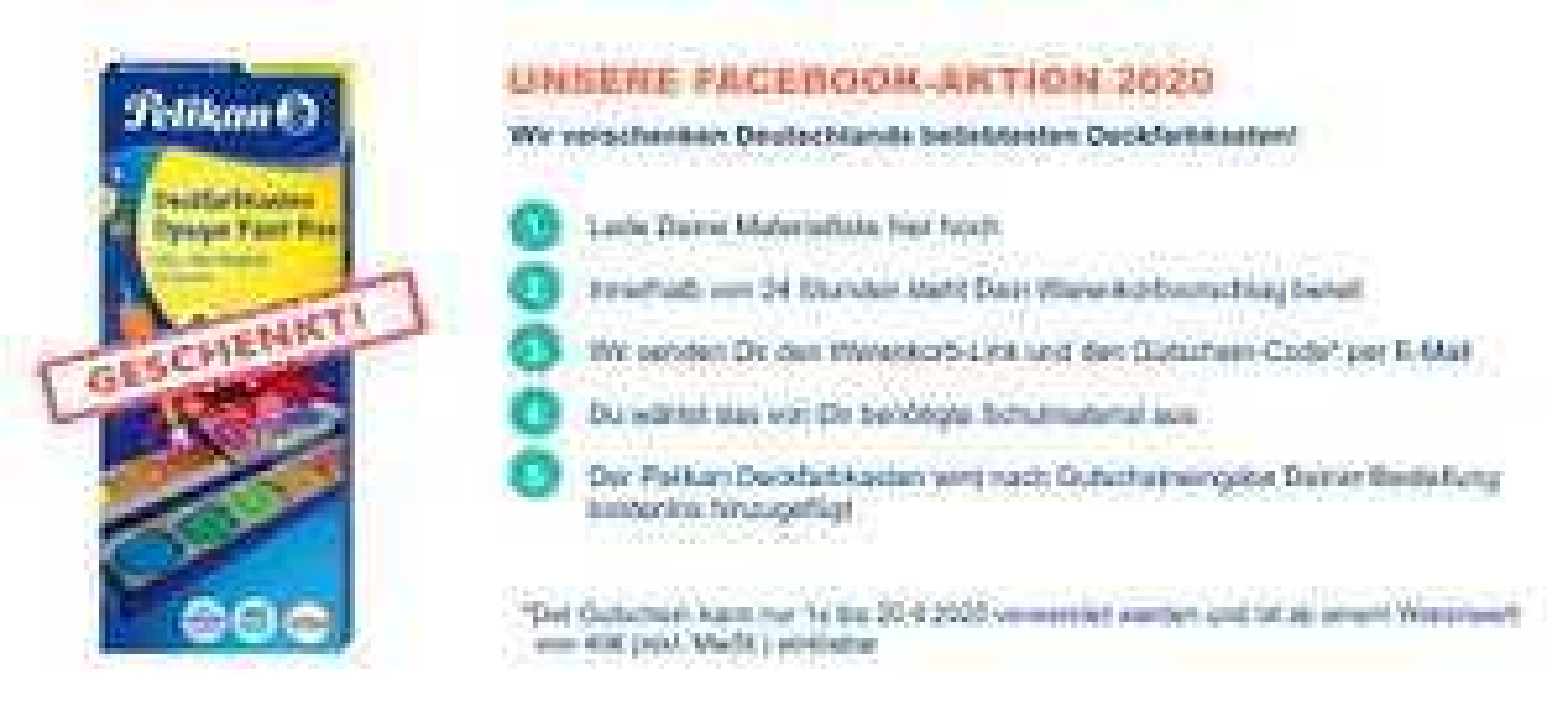 PELIKAN K12 Deckfarbkasten gratis bei Bestellungen ab 40€