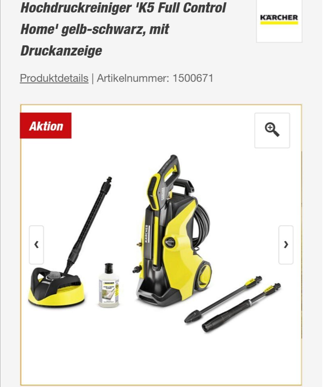 Kärcher Hochdruckreiniger 'K5 Full Control Home' gelb-schwarz, mit Druckanzeige