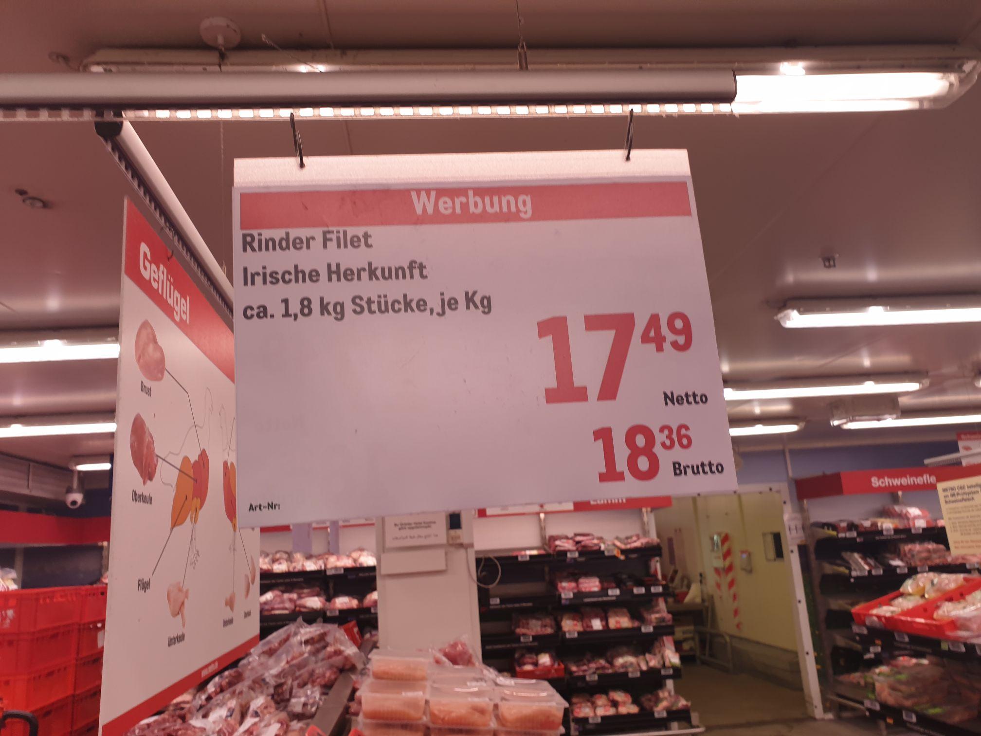 Irisches Rinderfilet ca. 1,8 kg für 18,36 €/kg Metro Gundelfingen und andere.