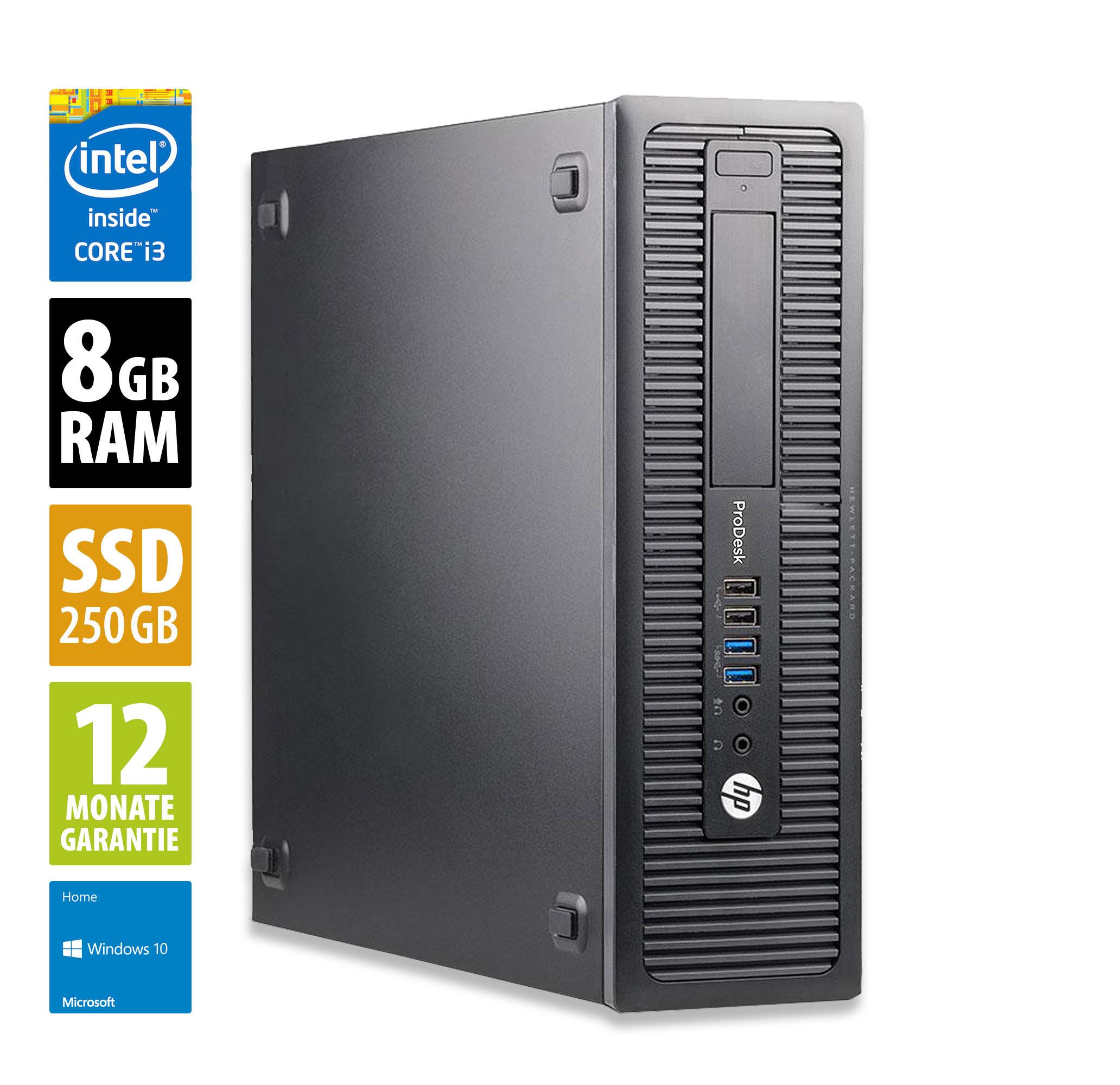 Office-Rechner von AfB, HP ProDesk 600 G1 SFF - Core i3-4130 @ 3,4 GHz - 8GB RAM - 250GB SSD - Win10Home Zustand: Grade A, Garantie 12 Mon.