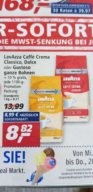 [REAL] Lavazza Caffe Crema Classico, Dolce oder Gustoso ganze Bohne 10% 1100g Packung
