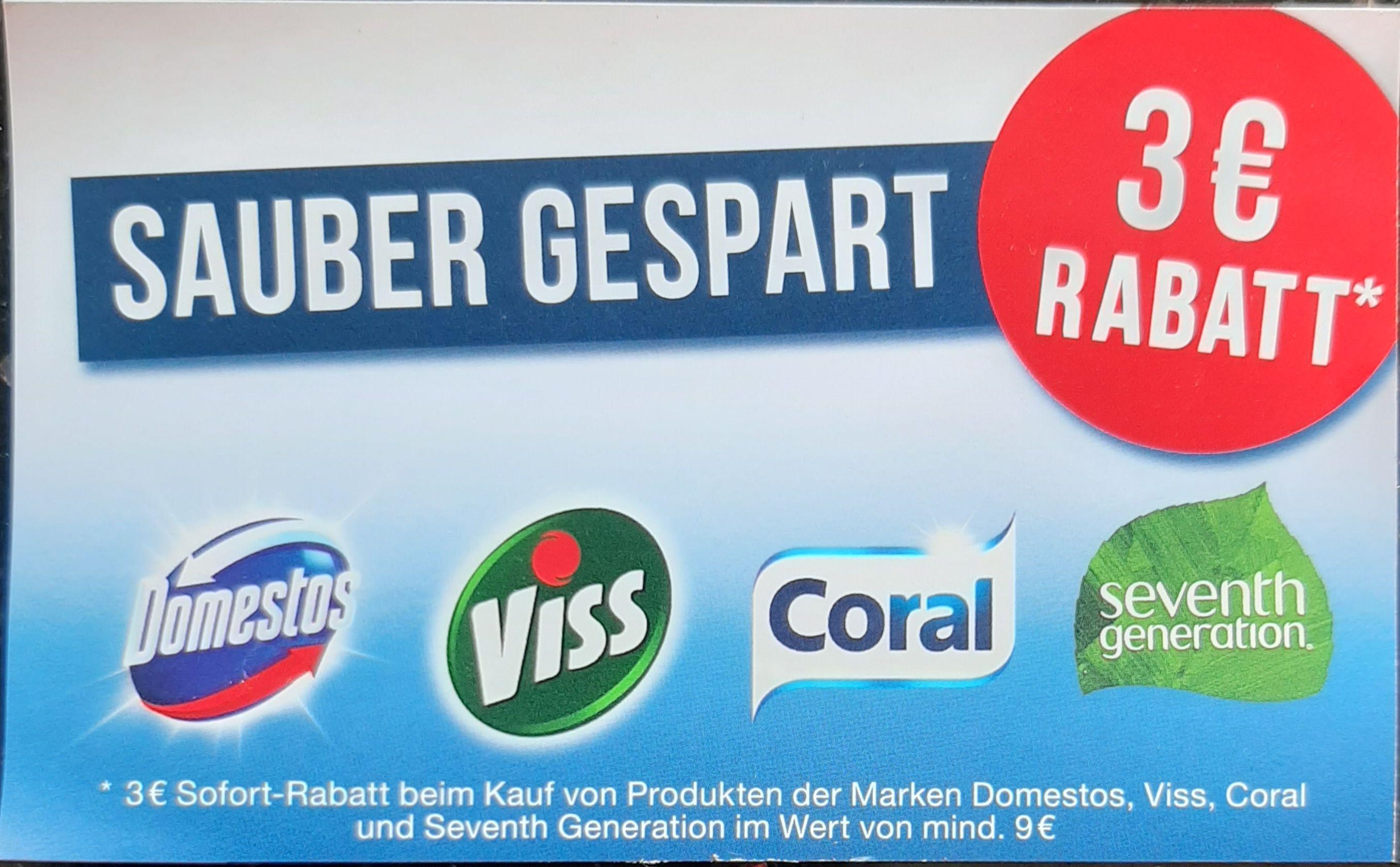 3€ Sofort-Rabatt beim Kauf von Domestos, Viss, Coral und seventh Generation im Wert von mind. 9€