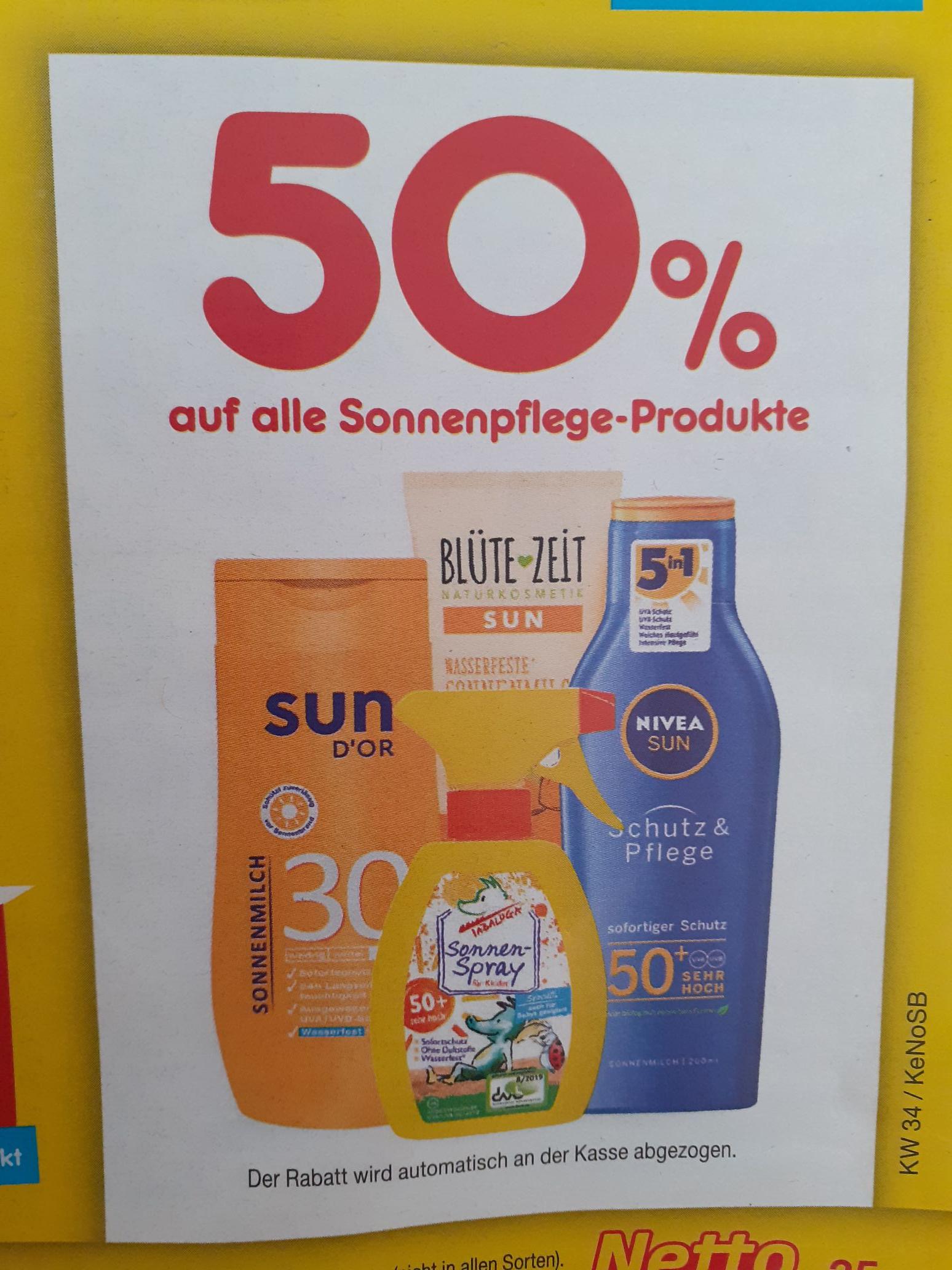 50% auf alle Sonnenpflege Produkte bei Netto Marken Discount am 21.08.20