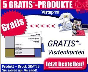 Gratis Produkte bei Vistaprint.de