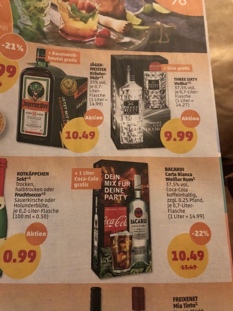 Jägermeister; Three Sixty Vodka; Bacardi Carta Blanca jeweils + gratis Zugabe