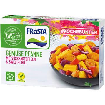 [real] FROSTA Vegane Gemüse Pfannen, z.B. mit Süsskartoffeln, 400g versch. Sorten für 2,22 Euro. (#Kochebunter) | & alpro Drink