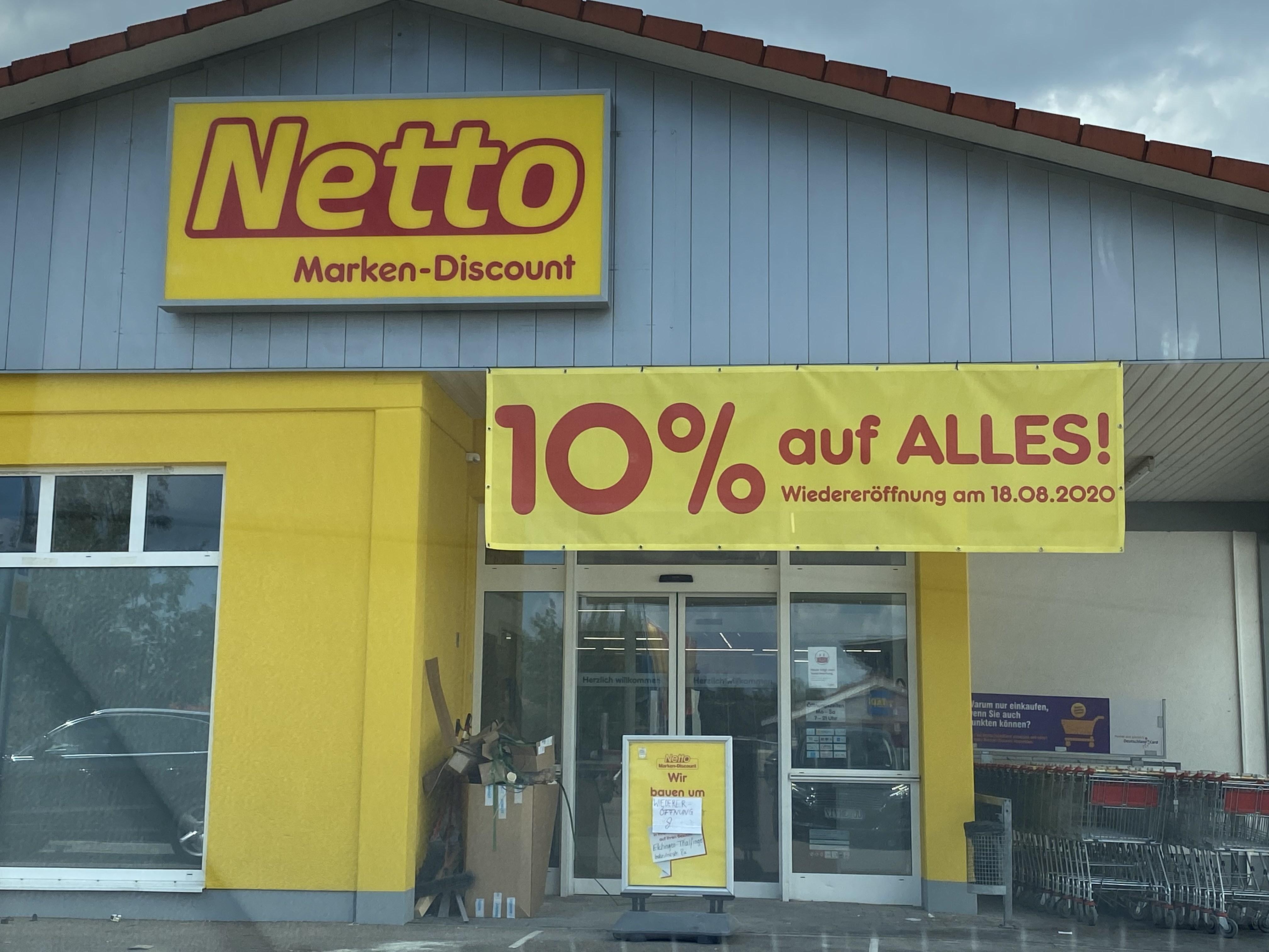 (-Lokal- 89129 Langenau) Netto Wiedereröffnung 18.8.20