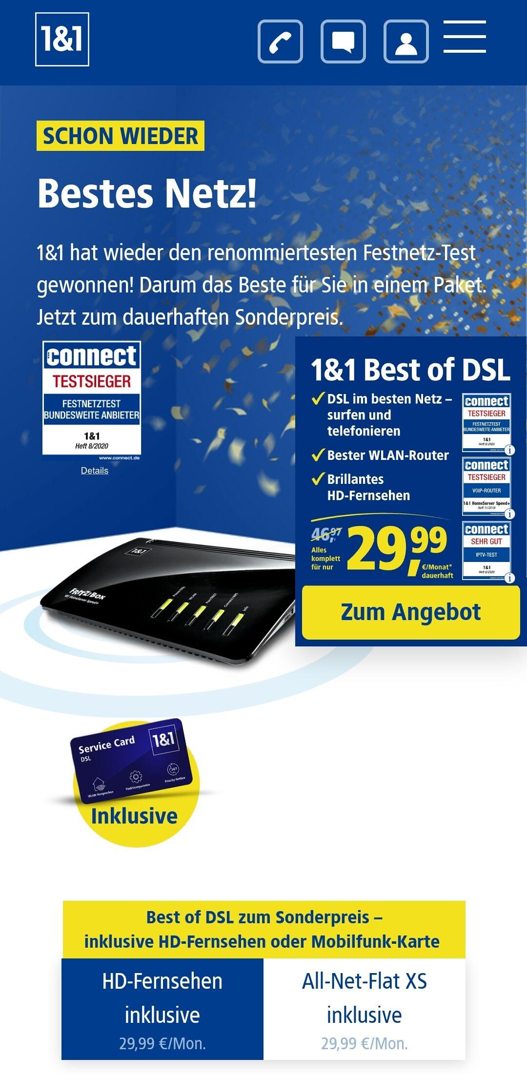 1und1 Best of DSL Deal 50Mbit inkl. HD TV