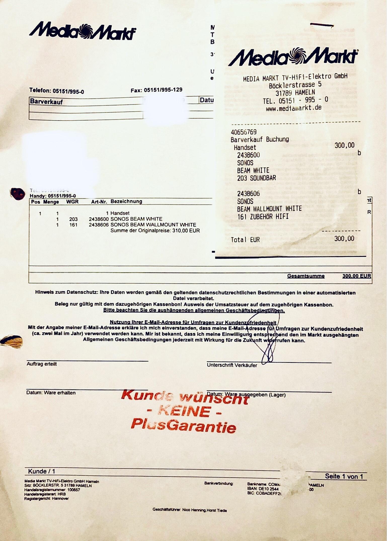 Sonos Beam white inkl. Beam Mount (Wandhalterurng) zusammen für 300€ / Sonos Sub Schwarz für 420€ LOKAL Hameln Media Markt