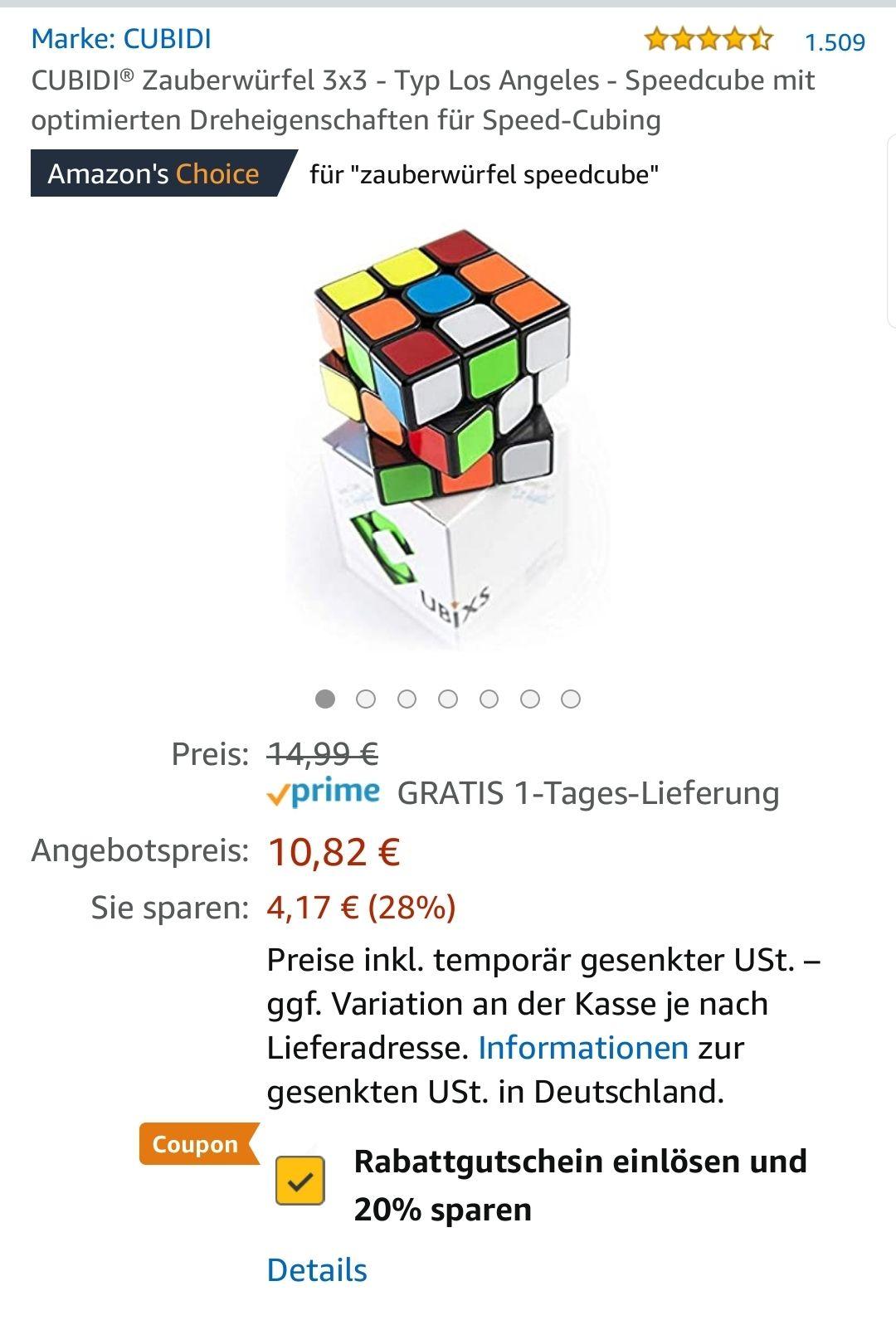 CUBIDI Speedcube 3x3 - Typ Los Angeles - Blitzangebot Amazon - Bestpreis