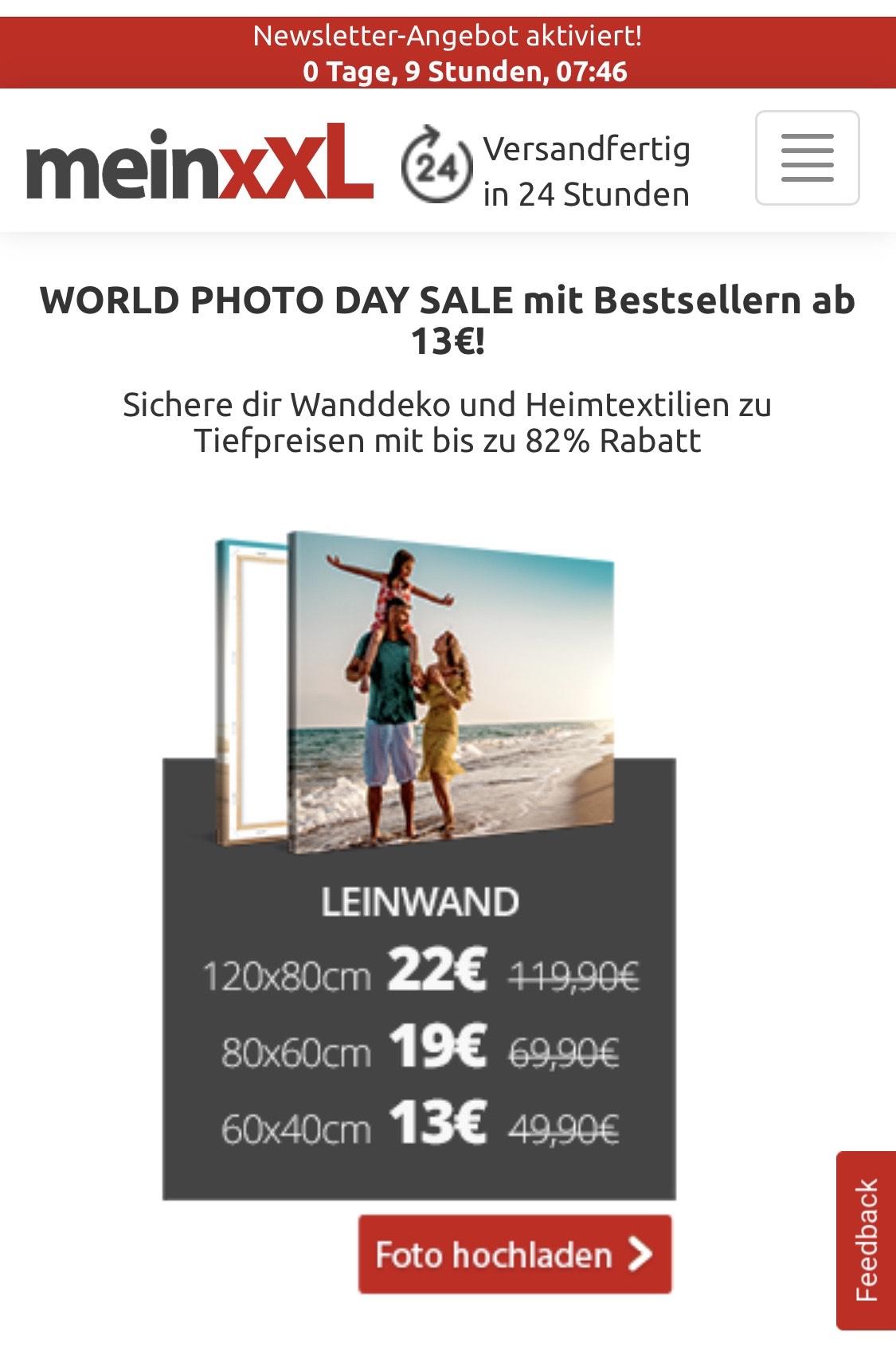 [Nur heute] MeinXXL 120x80cm 22€ Leinwand Acryl Alu-Dibond Handtuch Foto uvm.
