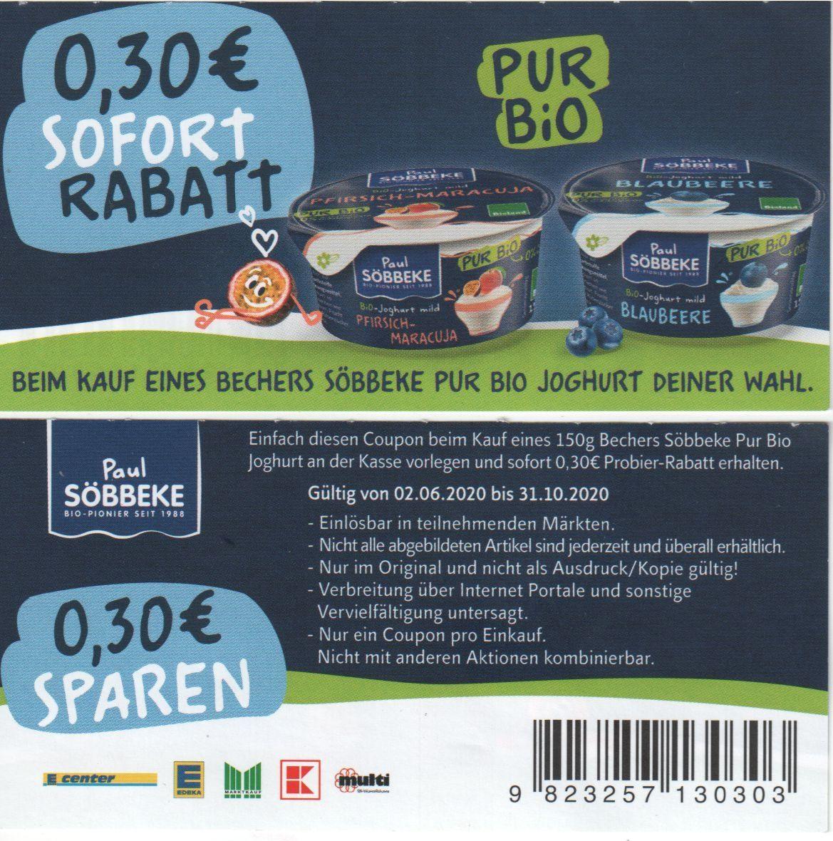 [Coupon] 0,30€ Rabatt beim Kauf eines Söbbeke Pur Bio Joghurt 150g Deiner Wahl gültig bis zum 31.10.2020