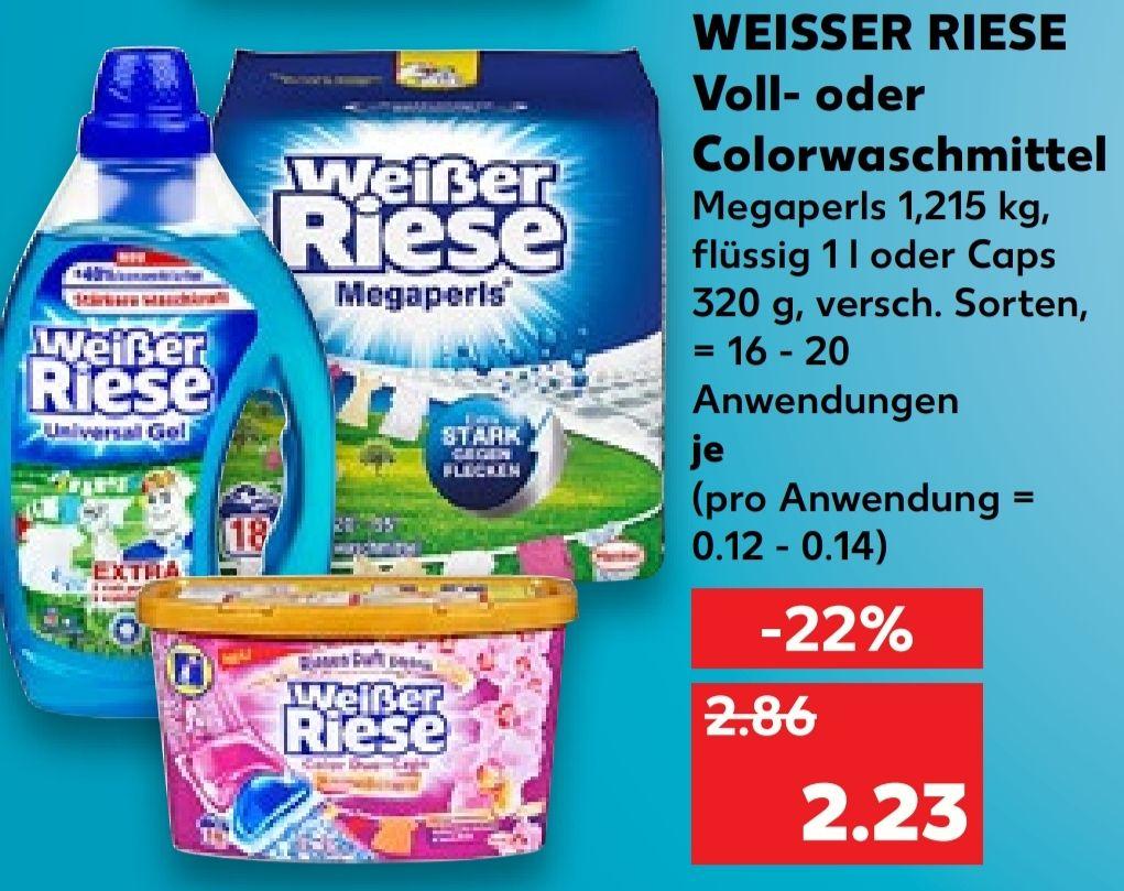 [Kaufland Do-Mi] 4x Weißer Riese Voll - oder Colorwaschmittel mit Prospekt Coupon für 4,92€ [Stückpreis =1,23€]