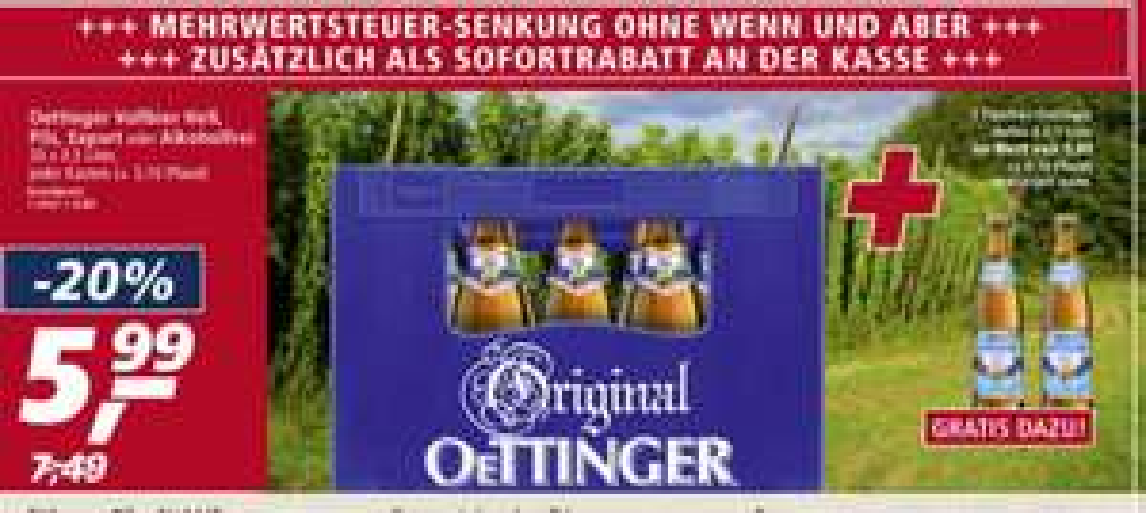 Real - Oettinger Bier 20x0,5l Pils, Export,Alkoholfrei bei Real + 2 Flaschen Oettinger Helles