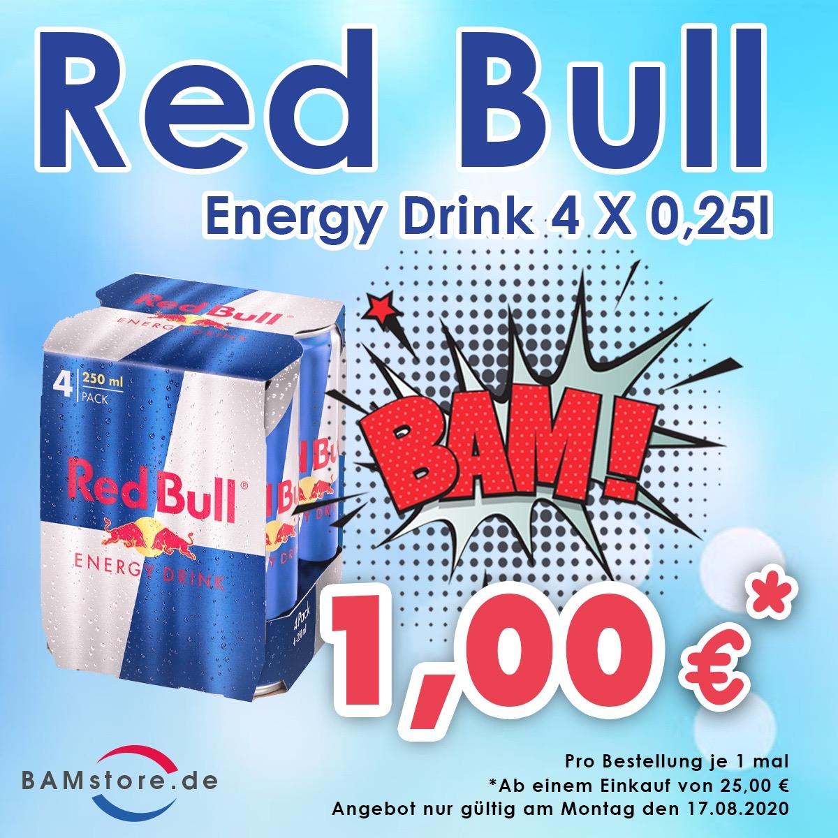 Red Bull Energy Drink 4 x 0,25l nur für 1€ (ab einem Einkauf von 25,00€/nur Berlin)