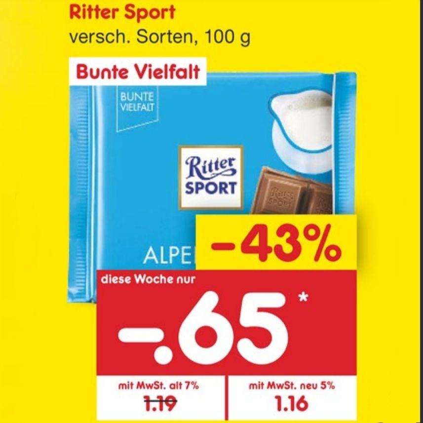 [Reebate & Netto MD] Ritter Sport Bunte Vielfalt für 0,65€ statt 1,16€; eff. 0,35€