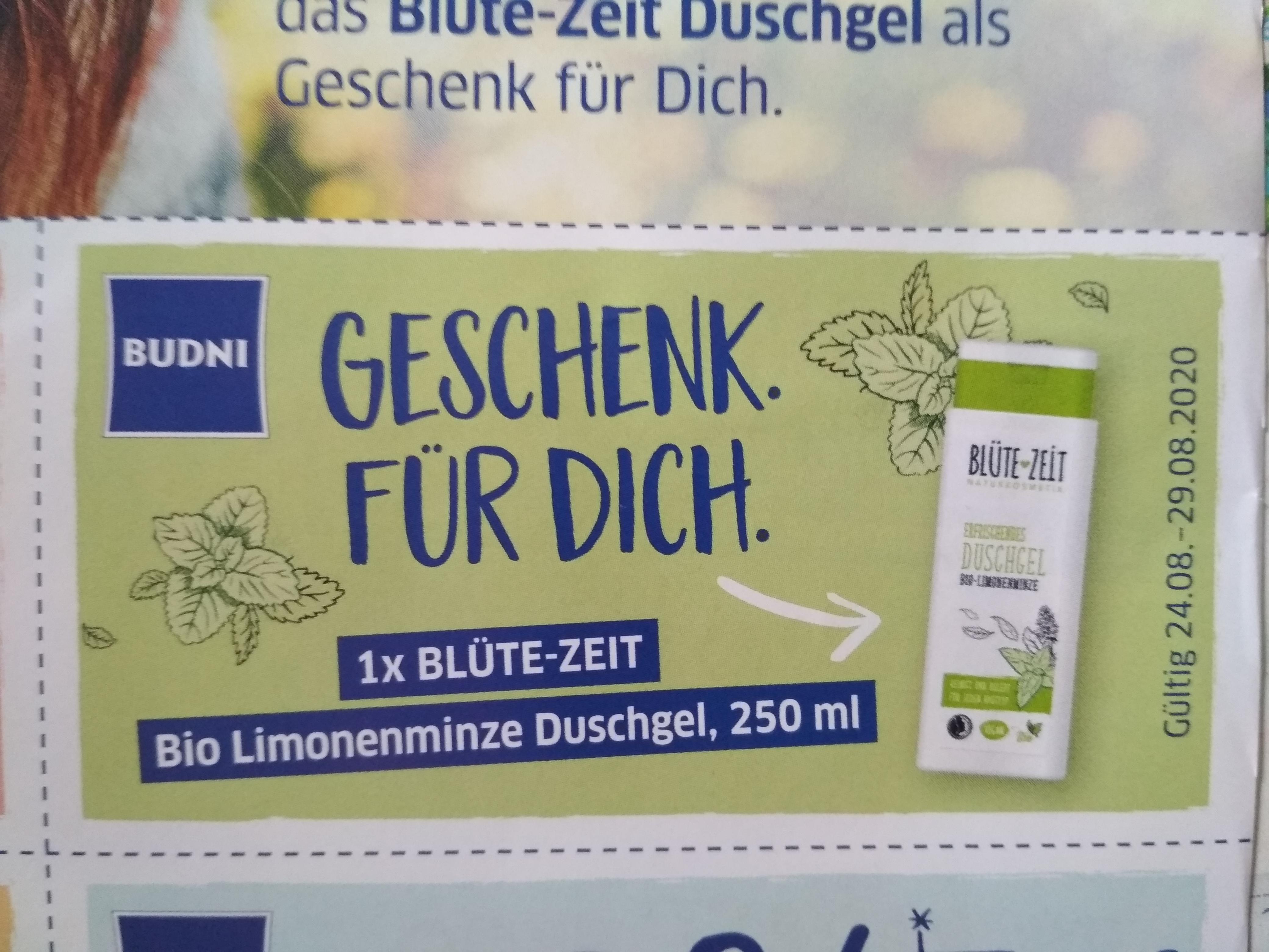 Budni 1x Blütezeit Bio Limonenminze Duschgel 250 ml gratis mit Coupon vom 24.-29.8.