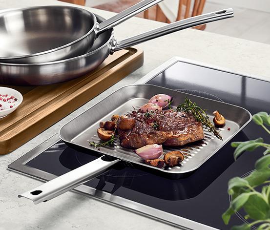 Zwilling quadratische Edelstahl Grillpfanne Steakpfanne 24 x 24 cm