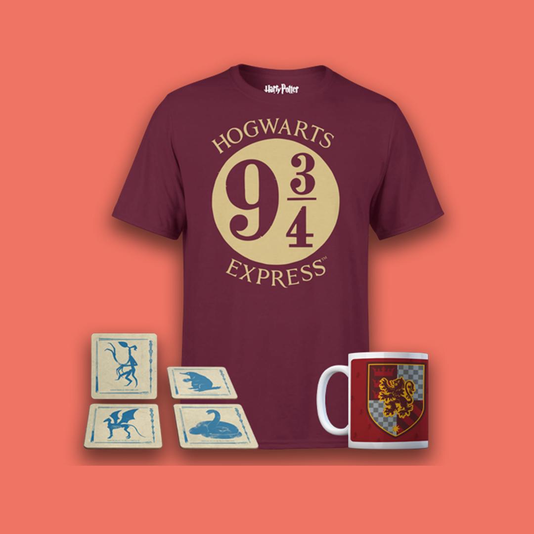 Harry Potter Bundle bestehend aus Tasse, Untersetzerset & T-Shirt eurer Wahl