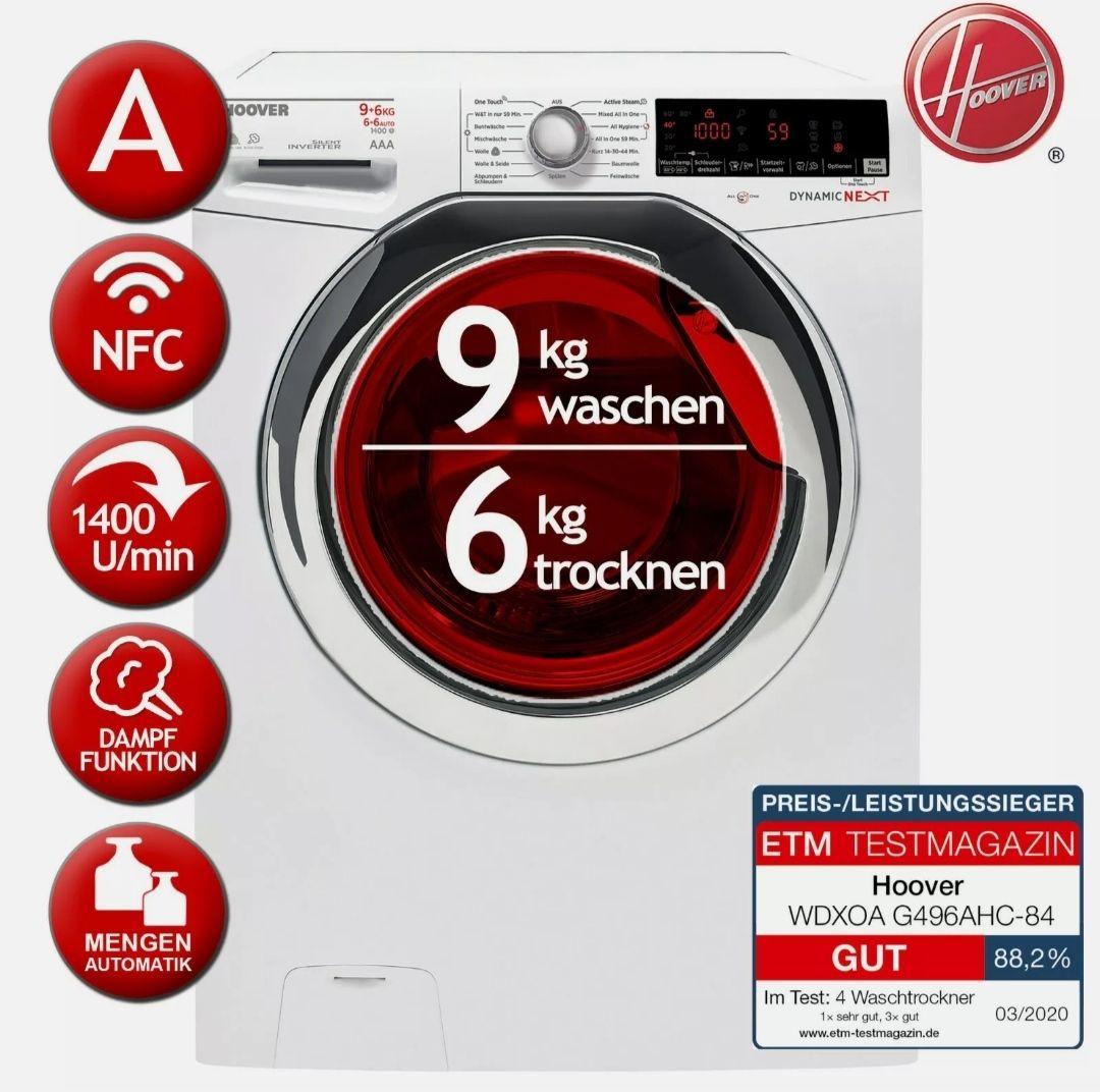 Waschtrockner Waschen 9kg / Trocknen 6kg EEK:A HOOVER WDXOA G496AHC-84 Aquastop