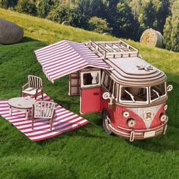 Puzzle-Freunde! Camper Van als 3D-Holzmodell- Maßstab 1:14 - 242 Puzzle-Teile