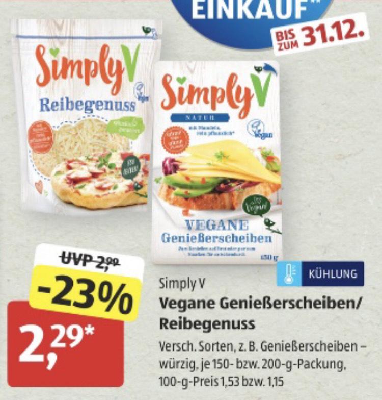 [aldi süd] Simply V - Vegane Genießerscheiben / Reibegenuss - Vegan Sammeldeal