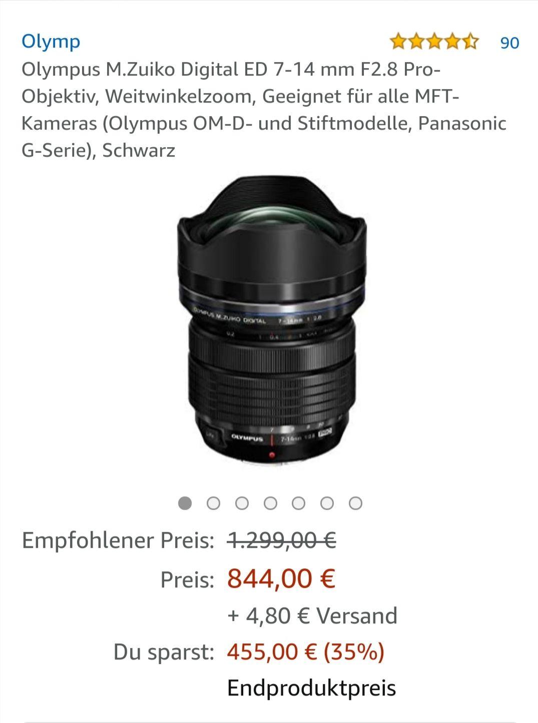 Olympus M.Zuiko Digital ED 7-14 mm F2.8 Pro-Objektiv.