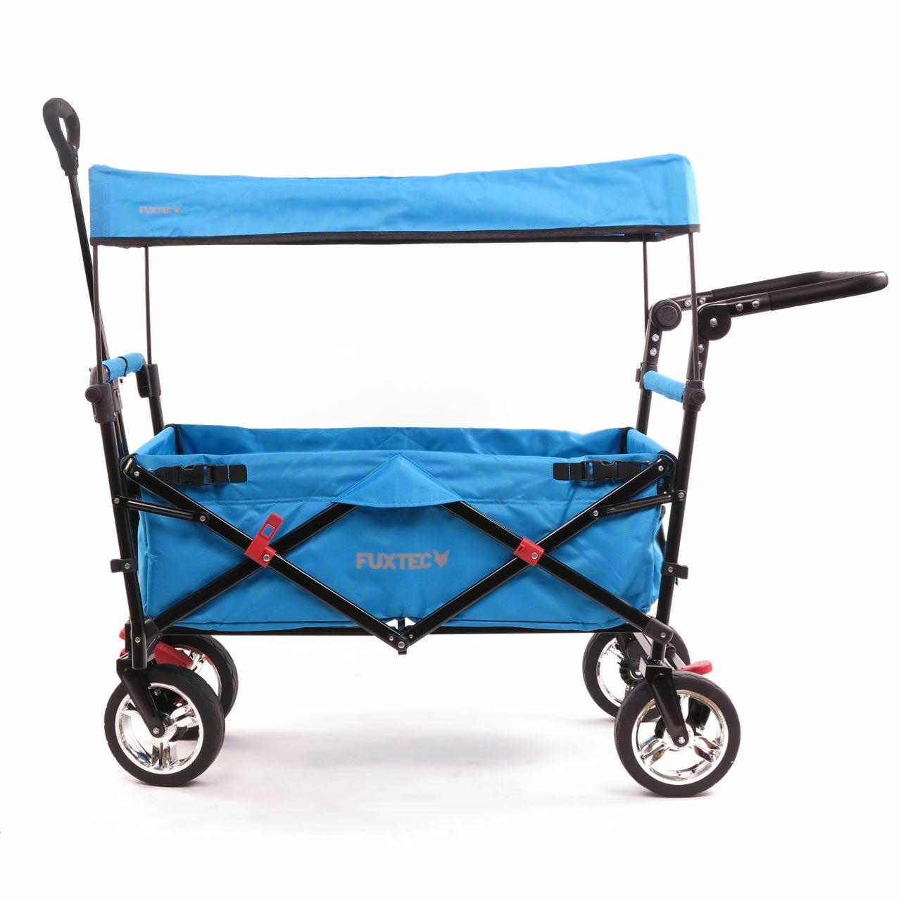 FUXTEC Bollerwagen FX-CT700 (klappbar, bis 75kg belastbar) mit UV-geschütztem Sonnendach und Schiebegriff