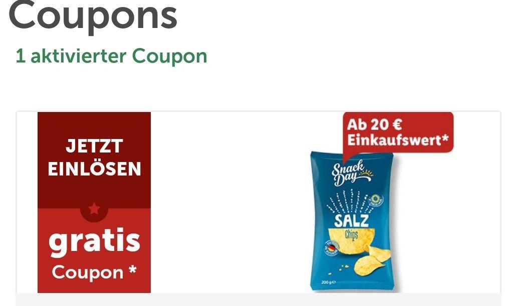 Lidl Plus App gratis Tüte Chips ab 20€ Einkaufswert
