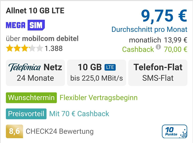 """MEGA SIM"" 10GB LTE 225 mbits + Tel.-/SMS-Flat, Telefonica Netz für 13,99€ / Monat + 50€ Rufnummernbonus + 70€ Cashback"