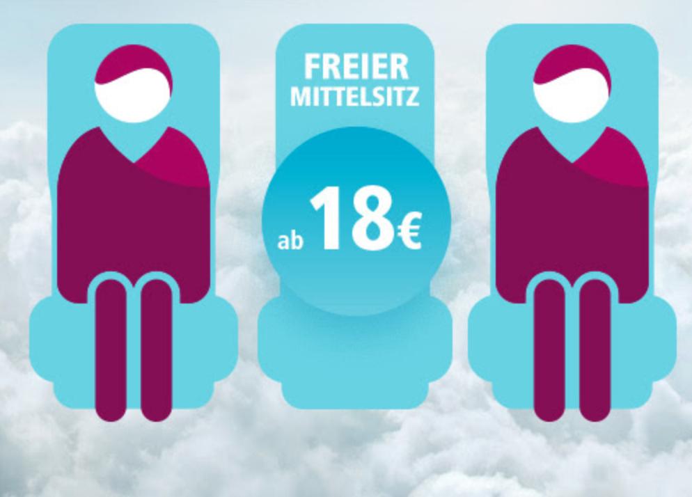 Eurowings - freier Mittelsitz ab 18 € ab sofort buchbar