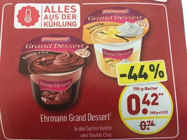 Aldi Nord: Ehrmann Grand Dessert für 42 Cent