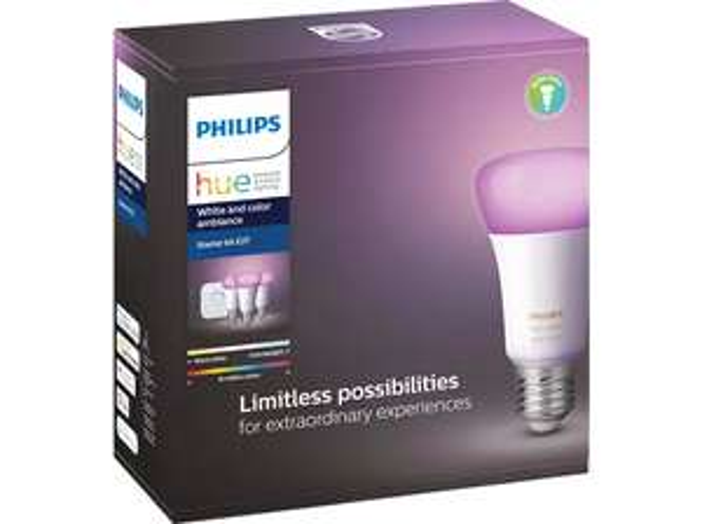 [Mediamarkt] PHILIPS Hue White & Col. Amb. E27 Starter Set Bluetooth-Neue Version (3 Lampen) für 99,41€