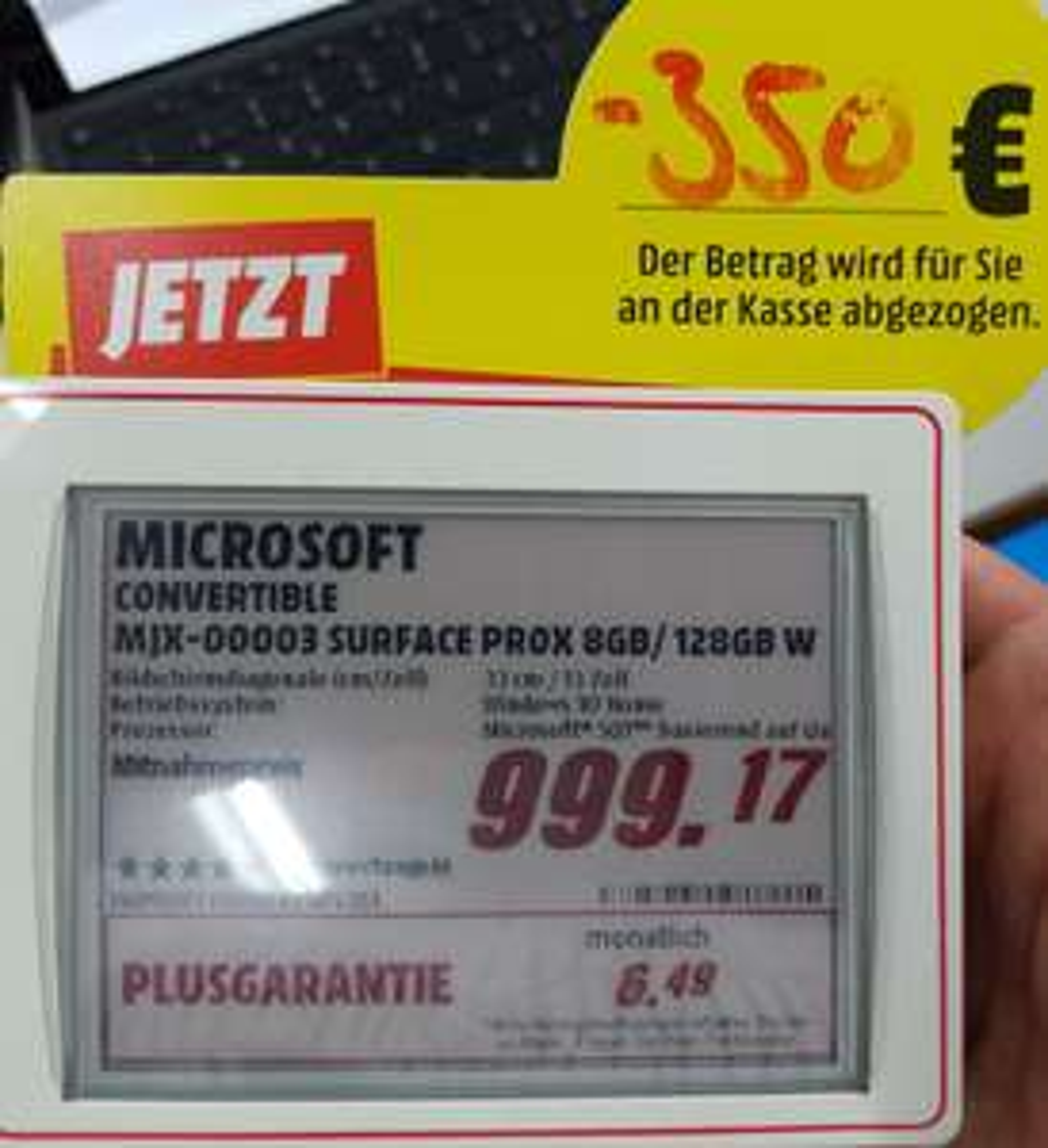 [lokal Media Markt Friedrichshafen] Microsoft Surface Pro X (MJX-00003)