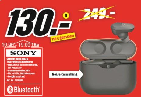 [Regional Mediamarkt Landau] SONY WF-1000XM3, In-ear, True-Wireless-Kopfhörer, Schwarz für 130,-€
