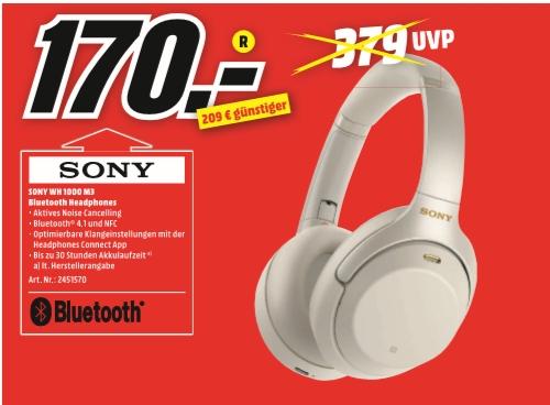 [Regional Mediamarkt Wuppertal] SONY WH-1000XM3 Noise Cancelling, Over-ear Kopfhörer, Near Field Communication,für 170,-€