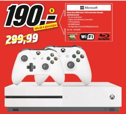 [Regional Mediamarkt Wuppertal] MICROSOFT Xbox One S 1TB Konsole + 2. Controller Bundle für 190,-€