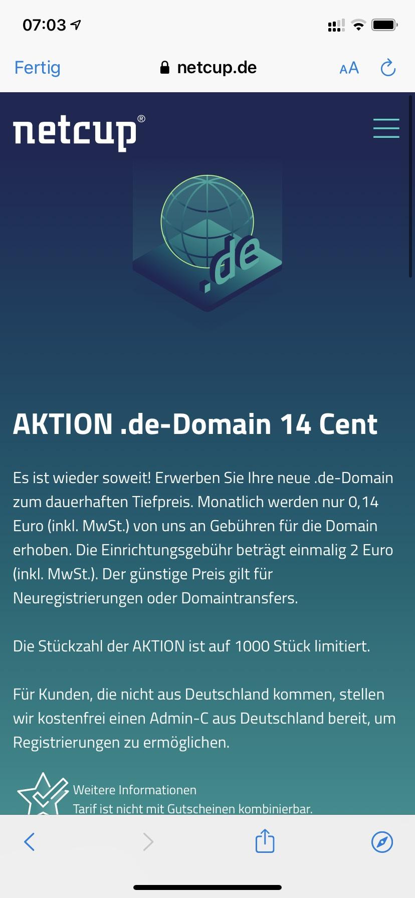 [netcup] .de Domain für 0,14€ pro Monat dauerhaft zzgl 2,00€ Einrichtung