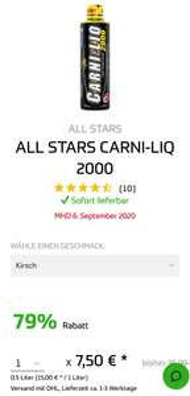 ALL STARS CARNI-LIQ 2000 + 2 PROTEIN BAR RIEGEL GRATIS MHD SALE