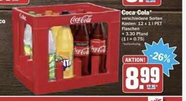 bei HIT Ullrich: Coca Cola verschiedene Sorten Kasten 12x1 PET zzgl. Pfand